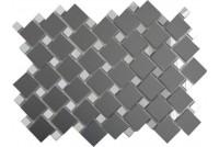 Зеркальная мозаика Графит матовый/Серебро Гм70С30 с чипом 25х25 и 12х12