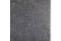 Viano Antracite ступень прямая рифленая 30x30