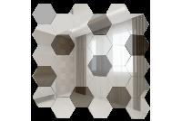 СС7030Г1 Зеркальная мозаика сота серебро 70%+графит 30% 287х287