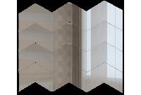РСС1 Зеркальная мозаика ромб скат серебро 270х313