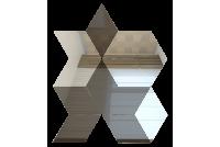РЦГ6040С1 Зеркальная мозаика ромб цвет графит 60%+серебро 40% 210х260